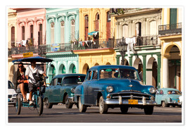 Poster  classic us cars in havanna, cuba - Peter Schickert