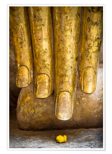 Premium poster Golden fingers of a Buddha statue