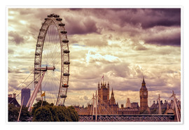 Premium poster  London Eye & Big Ben - Stefan Becker