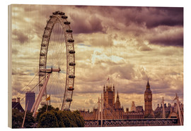 Wood print  London Eye & Big Ben - Stefan Becker