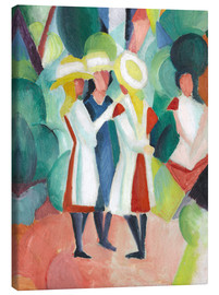Canvas  Three girls in yellow straw hats - August Macke