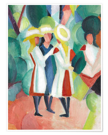 Premium poster  Three girls in yellow straw hats - August Macke