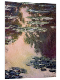 Foam board print  Waterlilies with Weeping Willows - Claude Monet