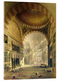 Acrylic glass  Haghia Sophia, plate 24: interior of the central dome with lowered chandeliers, engraved by Louis Ha - Gaspard Fossati