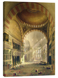 Canvas  Haghia Sophia, plate 24: interior of the central dome with lowered chandeliers, engraved by Louis Ha - Gaspard Fossati