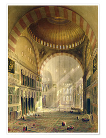Poster Haghia Sophia, plate 24: interior of the central dome with lowered chandeliers, engraved by Louis Ha