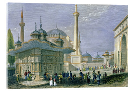 Acrylic glass  Fountain and Square of St. Sophia, Istanbul - William Henry Bartlett