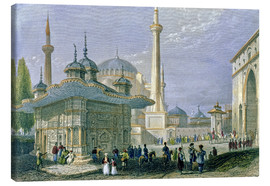 Canvas  Fountain and Square of St. Sophia, Istanbul - William Henry Bartlett