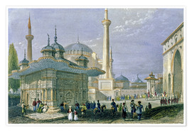 Premium poster  Fountain and Square of St. Sophia, Istanbul - William Henry Bartlett