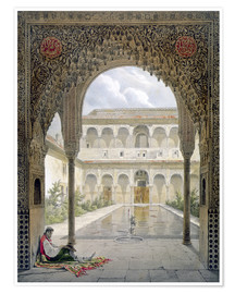 Premium poster  The courtyard of Alberca in the Alhambra, Granada, 1853 - Léon Auguste Asselineau