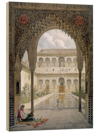 Wood print  The courtyard of Alberca in the Alhambra, Granada, 1853 - Léon Auguste Asselineau