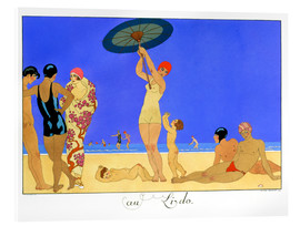 Acrylic print  At the Lido, engraved by Henri Reidel, 1920 - Georges Barbier
