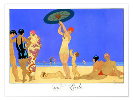 Premium poster  At the Lido, engraved by Henri Reidel, 1920 - Georges Barbier