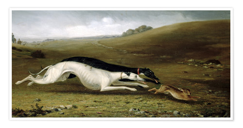 Premium poster Hare Coursing in a Landscape, 1870