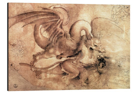 Aluminium print  Fight between a Dragon and a Lion - Leonardo da Vinci