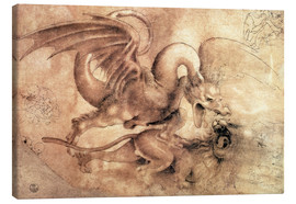 Canvas print  Fight between a Dragon and a Lion - Leonardo da Vinci