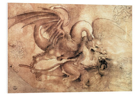 Foam board print  Fight between a Dragon and a Lion - Leonardo da Vinci