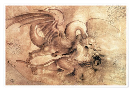 Premium poster  Fight between a Dragon and a Lion - Leonardo da Vinci