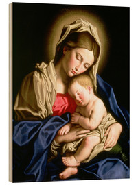 Wood print  Madonna and child - Il Sassoferrato
