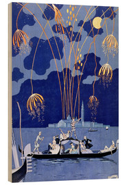 Wood print  Fireworks in Venice, Fetes Galantes - Georges Barbier