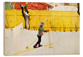 Wood print  The skis - Carl Larsson