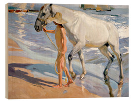Wood print  Washing the Horse - Joaquin Sorolla y Bastida