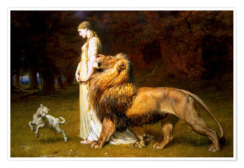 Premium poster Una and the Lion, from Spenser's Faerie Queene