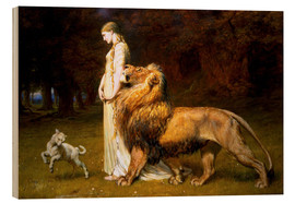 Wood print  Una and the Lion, from Spenser's Faerie Queene - Briton Riviere