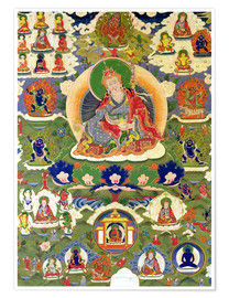 Tibetan School - Thangka of Padmasambhava with thirty-one major and several minor figures depicting Padmasambhava's e