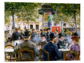 Foam board print  Cafe Scene in Paris, 1884 - Louis Anet Sabatier