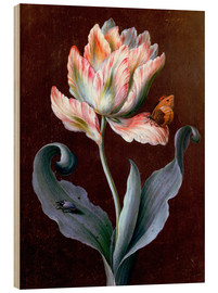 Wood print  Parrot tulip with butterfly and beetle - Barbara Regina Dietzsch
