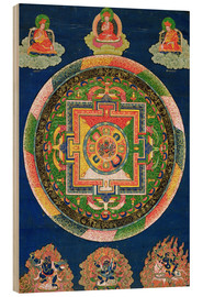 Wood print  Thangka of the mandala of Chakrasamvara - Tibetan School