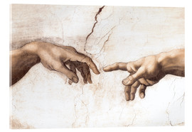 Acrylic print  The Creation of Adam (detail of hands) - Michelangelo