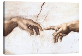 Canvas  Sistin. Chapel: Creation of Adam, detail of hands - Michelangelo