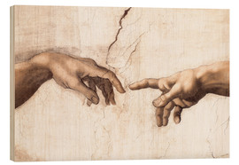 Wood print  The Creation of Adam (detail of hands) - Michelangelo