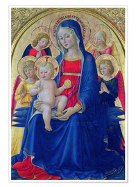 Premium poster Madonna with child and angel, 1467