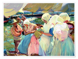 Premium poster Fisherwomen on the Beach