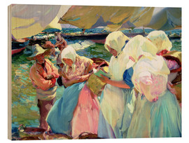 Wood print  Fisherwomen on the Beach - Joaquin Sorolla y Bastida