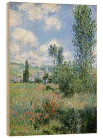 Wood print  Way through the poppies - Claude Monet