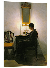 Foam board print  Woman reading by candlelight - Peter Vilhelm Ilsted