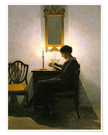 Premium poster Woman reading by candlelight