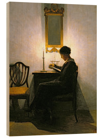 Wood print  Woman reading by candlelight - Peter Vilhelm Ilsted