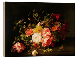 Wood print  Flowers and Insects - Rachel Ruysch