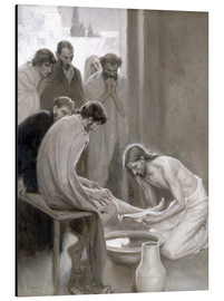 Aluminium print  Jesus washes the feet of his disciples - Albert Edelfelt