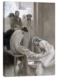 Canvas print  Jesus washes the feet of his disciples - Albert Edelfelt