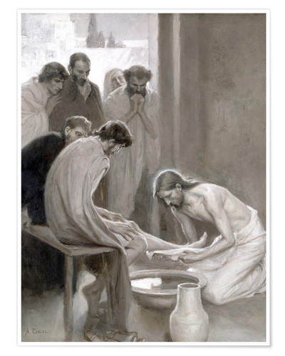 Premium poster Jesus washes the feet of his disciples