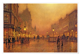 Premium poster  A street at night - John Atkinson Grimshaw