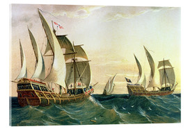 Acrylic glass  The 'Pinta', the 'Nina' and the 'Santa Maria' sail to the West Indies in 1492 - Spanish School