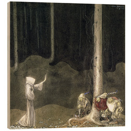 Wood print  Brother St. Martin and the Three Trolls - John Bauer