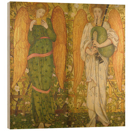 Wood print  Angels with Pan Pipes and Bagpipes - John Roddam Spencer Stanhope